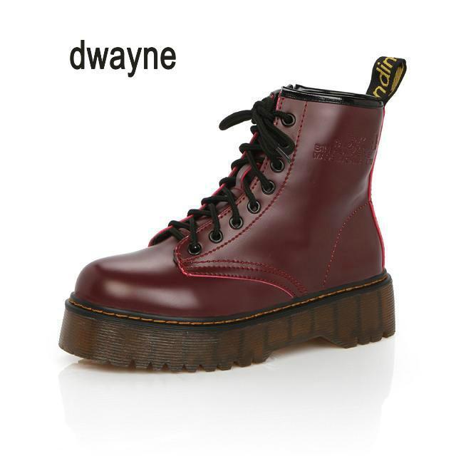 328b0cfa92d Acheter Dwayne Marque Bottes Femme Martens En Cuir Hiver Chaud Chaussures  Moto Femmes Bottines Doc Martins Automne Femmes Oxfords Chaussures De   47.78 Du ...