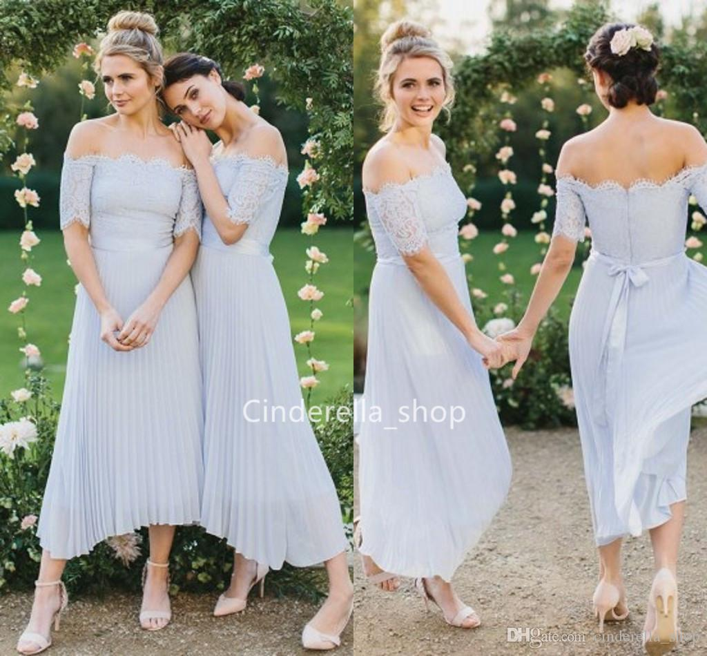 2dd4b91dd5a5 Western Country Chiffon Off The Shoulder Lace Short Sleeves Bow Ribbon Wedding  Guest Dresses Ankle Length Lilac Beach Mariage Party Gowns Navy Bridesmaids  ...