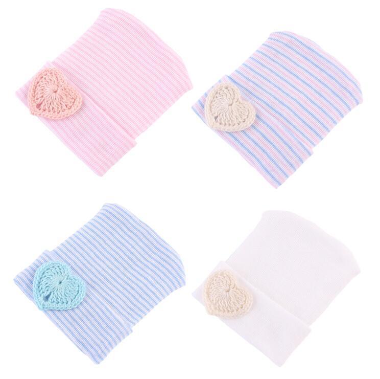 e600dc657 Newborn hat Beanies Sweet heart baby knit hats Maternity 2018 Autumn Cotton  warm beanie Striped European quality Spring wholesale 0-6months