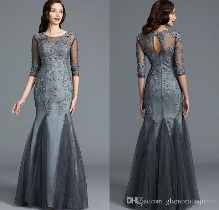 a631500b071 Elegant Modest Mermaid Long Sleeve Mother Of The Bridal Dress Floor Length  Grey Tulle Appliques Lace Formal Women Evening Dresses Mother Of The Bride  Suit ...