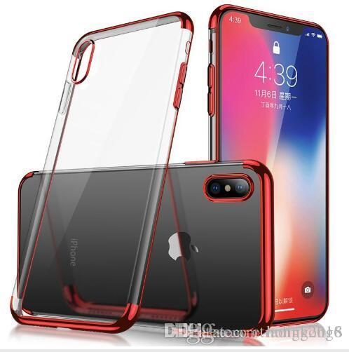 New Metal Electroplating Soft TPU Clear Phone Case For iPhone X Xr Xs Max 8 7 6S Plus Anti-shock Protector Cases