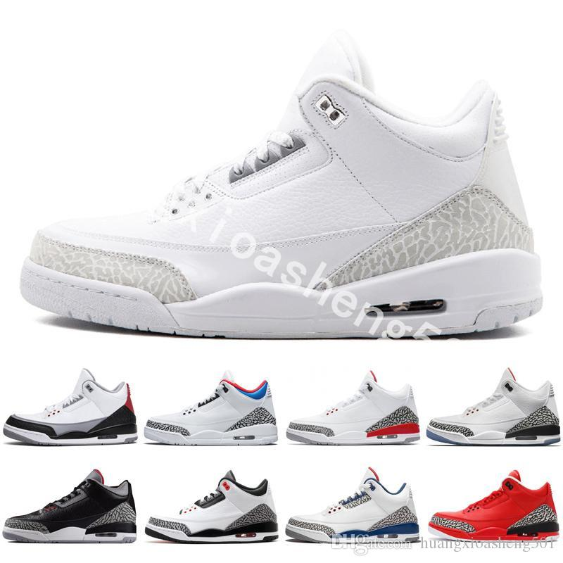 aefb1281846688 2019 Basketball Shoes Men 3s 3 Sneakers Mens Tinker University Red Black  Cement White Blue He Got Game Sport Blue Outdoor Sport Shoes Mens From ...