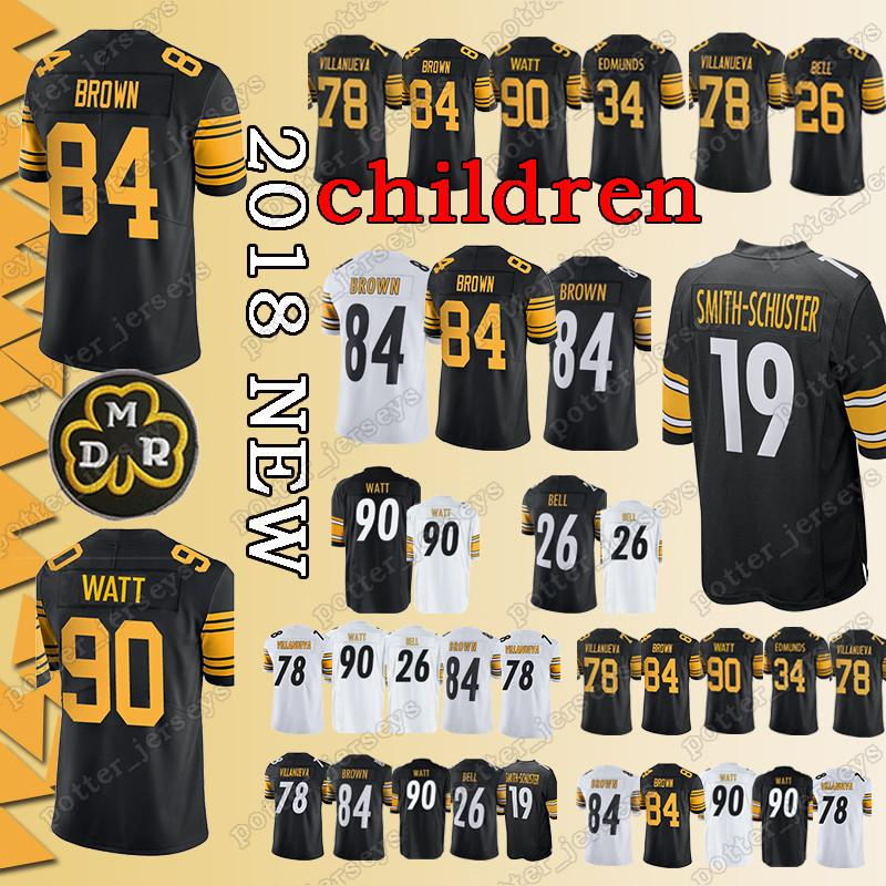 1141579a6 ... free shipping 2019 youth pittsburgh steeler jerseys 90 t.j. watt 84  antonio brown 26 le veon
