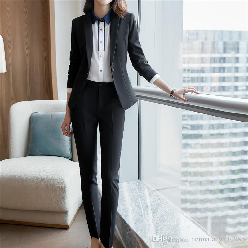 Suits & Sets Formal Blazers Suits Ol Womens Suits 2 Piece Business Suits Female Pant Suit Jacket+pants Pant Suits