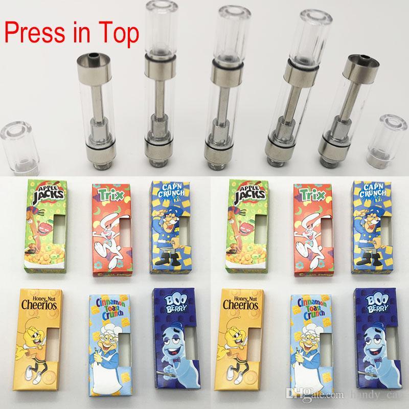 M6T vapes cartridges Newest Cereal Carts E Cigarettes Ceramic Coil Empty  Vape Pen Press in Tip Cartridge 510 Thread Vaporizer pens Atomizers