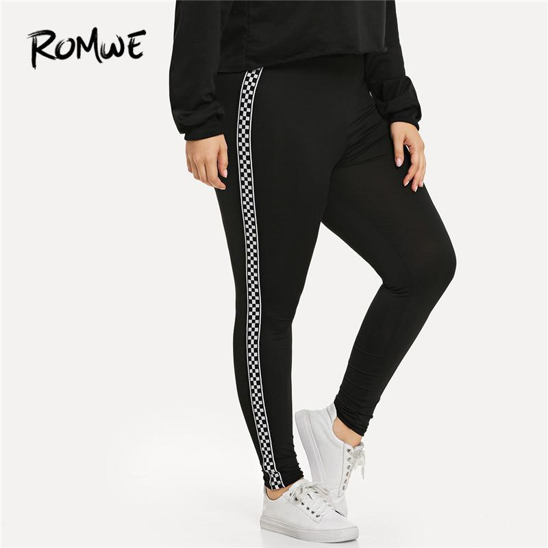 56a97dbdf6c66 2019 Romwe Sport Plus Size Black Plaid Contrast Checkered Skinny Leggings  Fitness Yoga Pants Gym Women 2019 Sportswear Yoga Tights From Neyei