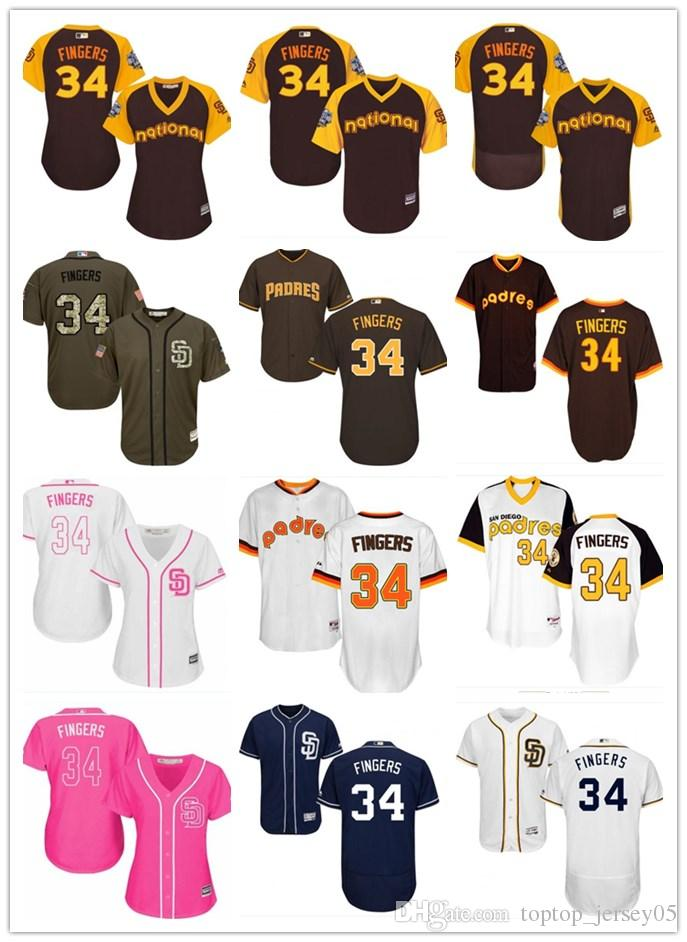sneakers for cheap 6c92d d7aae 2018 San Diego Padres Jerseys #34 Rollie Fingers Jerseys  men#WOMEN#YOUTH#Men's Baseball Jersey Majestic Stitched Professional  sportswear