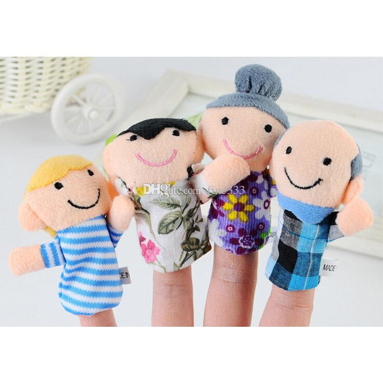 Finger Plush Toy Dolls 6 Models Cartoon Cute Family portrait Plush Stuffed Animals Best Gift For Children Wholesale