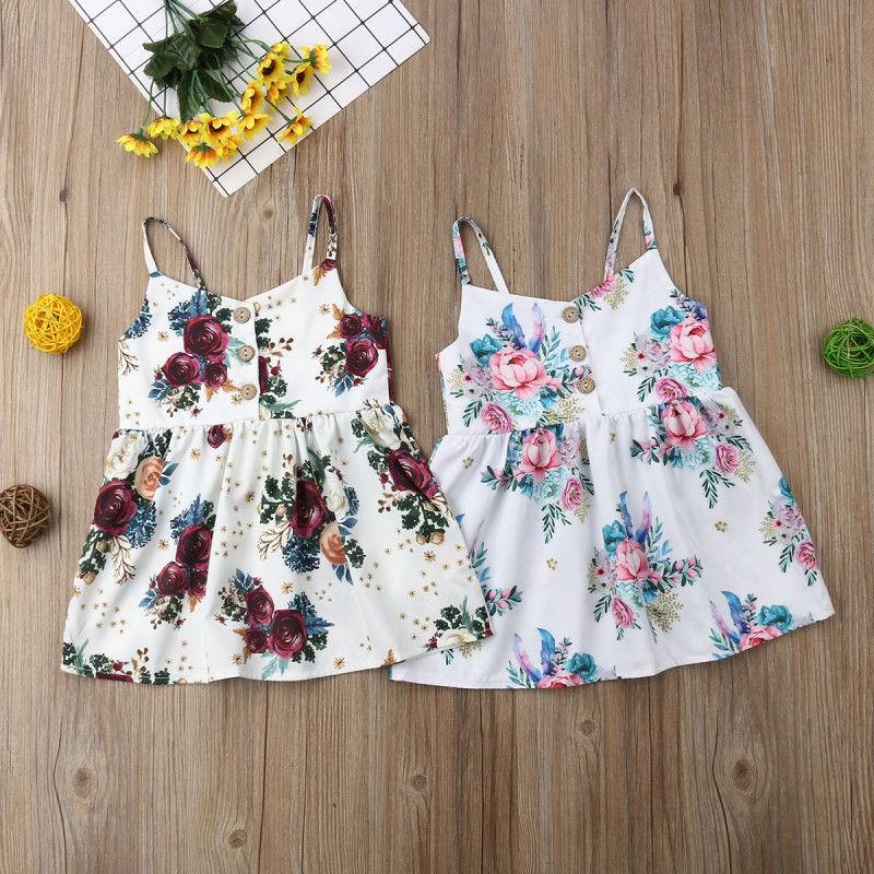 151e5930b4dd6 Floral Print Baby Girl Dress Cute Toddler Flower Princess Sleeveless Baby  Dress Sundress Summer Baby Girl Clothes 3M-3Y