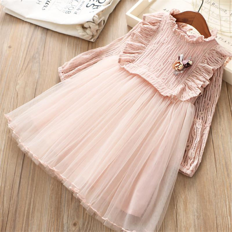 0-6 years High quality girl dress 2019 spring new fashion solid cute flower full sleeves children clothing princess girl dresses