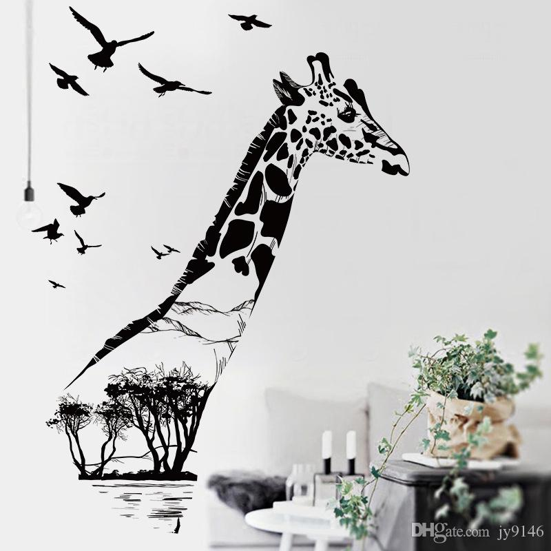 Black Giraffe Wall Stickers PVC Large Wall Decals for Living Room Animal Decals for Home Decor Removable
