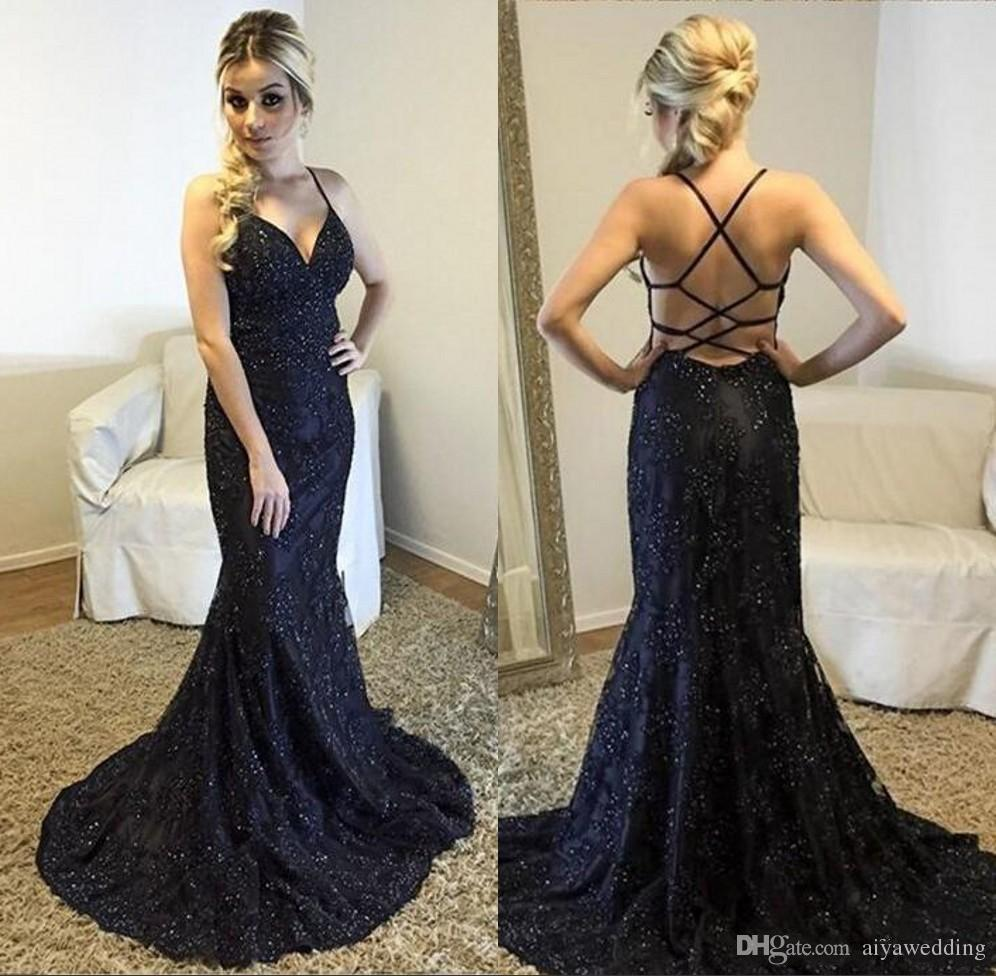 d16b6aacda Modest Sexy Navy Blue Prom Dresses 2019 Lace Applique Illusion Long Jewel  Neck Hollow Back Mermaid Plus Size Formal Party Evening Gowns Formal Dresses  ...