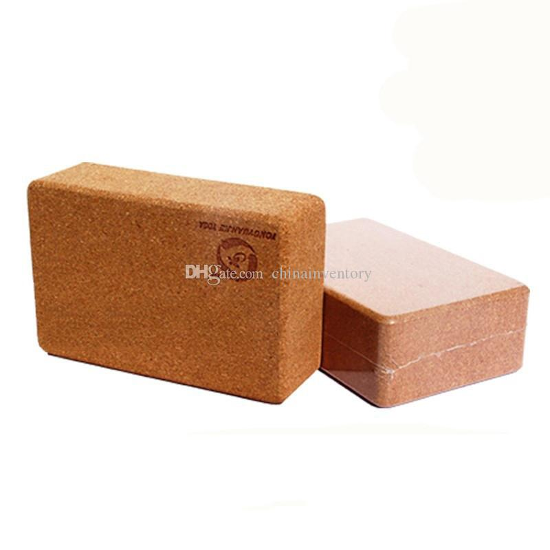 Importato ad alta densità sughero di legno Yoga Block Prop ausiliario strumento di fitness Block antisdrucciolevole Soft Wood Yoga Brick Fitness Equipment Accessori