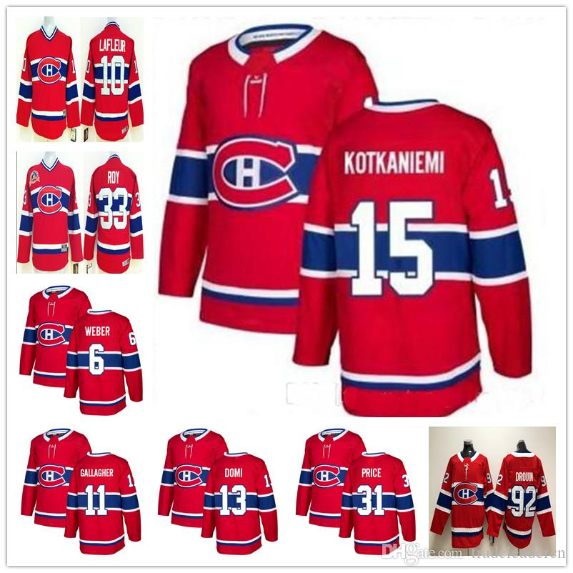 1fd95fb99 2019 Youth Mens Montreal Canadiens Jesperi Kotkaniemi 6 Shea Weber Carey  Price Max Domi Jonathan Drouin Richard Lafleur ROY Gallagher Kid Jerseys  From ...