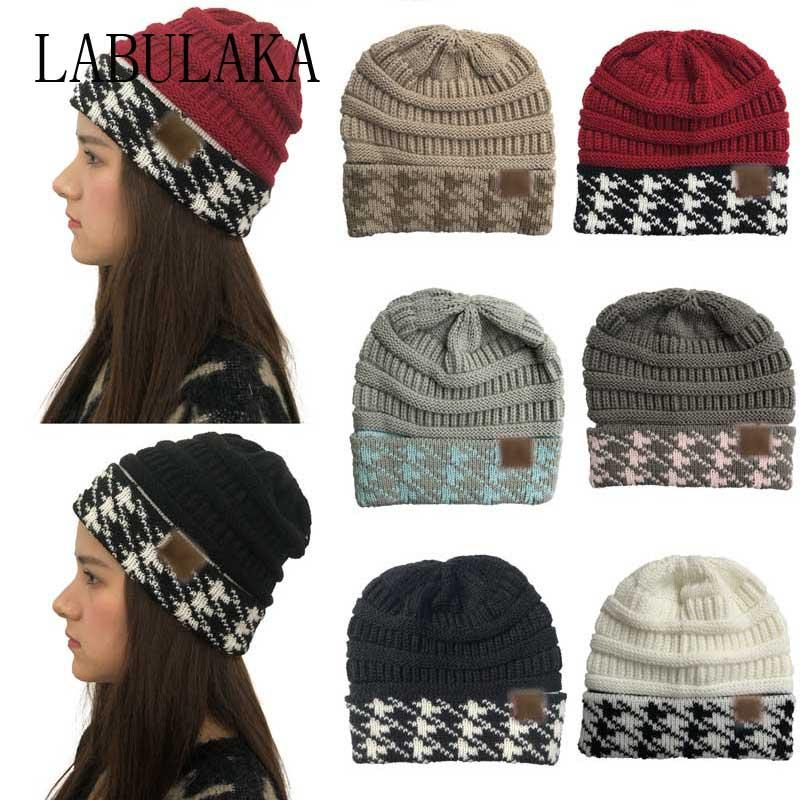 e621c5e510f 2019 Women's Winter Warm Hat Beanie Trendy Ladies Knitted Baggy Caps  Skullies Beanies Patchwork Folding Hats Casual Outdoor Caps