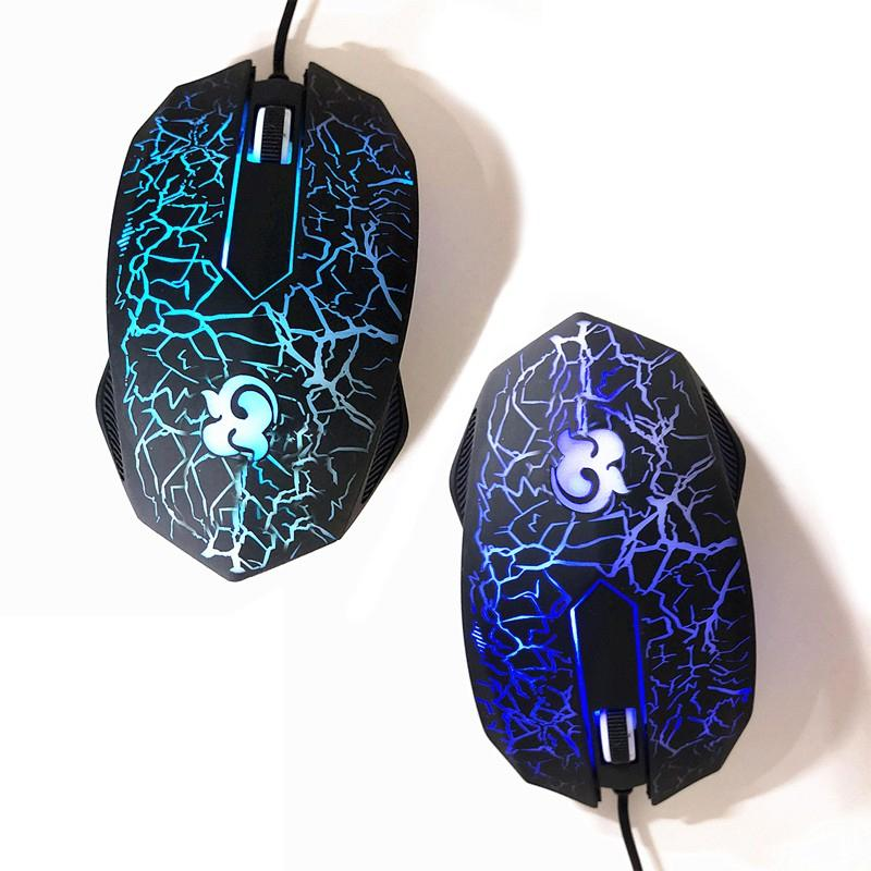 USB Wired Mouse 1200DPI 3 Buttons Optical Gaming Mouse 3 Colors LED Luminous for PC Laptop Computer touch