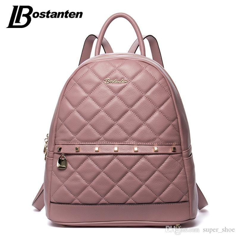 3ea4c92bc42 BOSTANTEN Fashion Diamond Lattiice Genuine Leather Backpack Rivet Women  Bags Preppy Style Backpack Girls School Bags Back Pack #187137