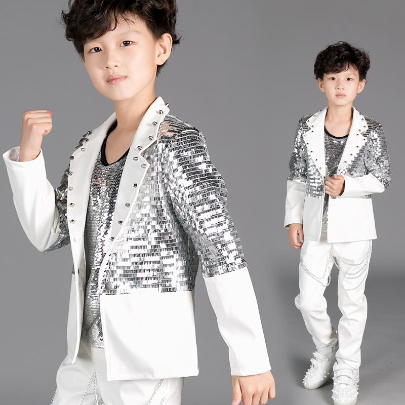 2019 Kids Dance Costumes For Jazz Silver Sequin Coat White Jacket Boys Hip Hop Clothes Children Stage Performance Wear DN2965