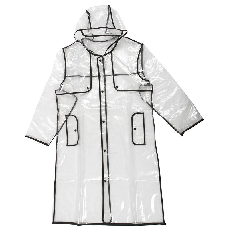 TOP!-FASHION WOMEN'S TRANSPARENT EVA RAINCOAT OUTDOOR TRAVEL WATERPROOF RAIN COAT black 130cm