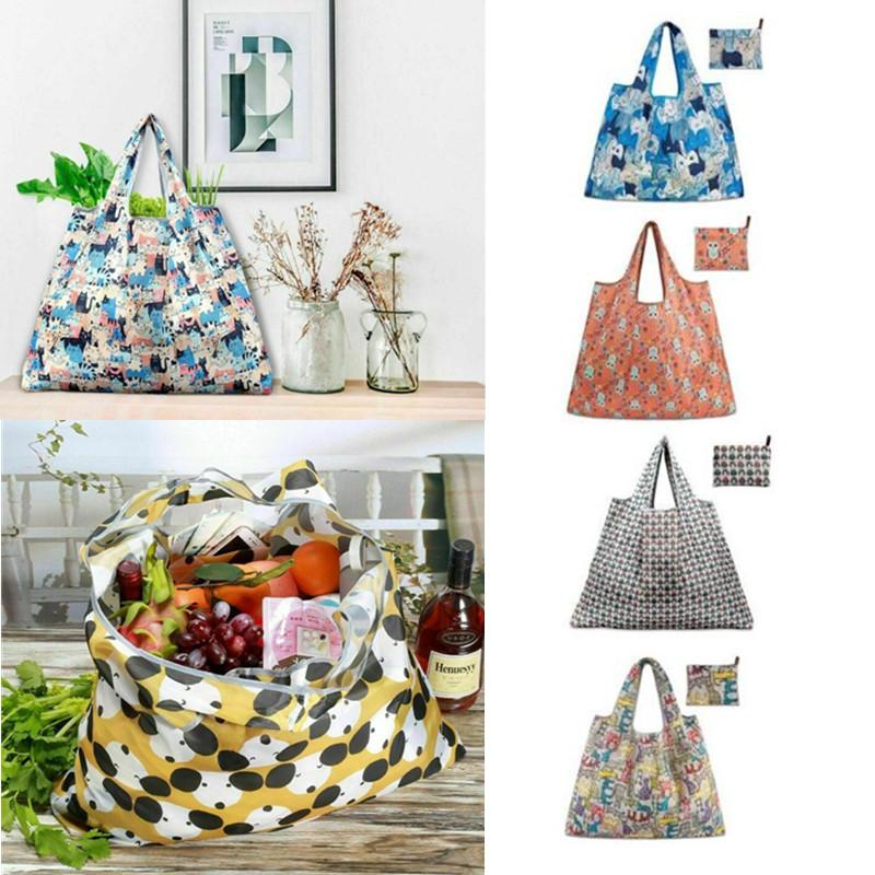 Hangable Shopping Bag Ladies Print Foldable Oxford Cloth Shopping Pouch Bag Reusable Fruit Grocery Recycle Organizer Packs Case
