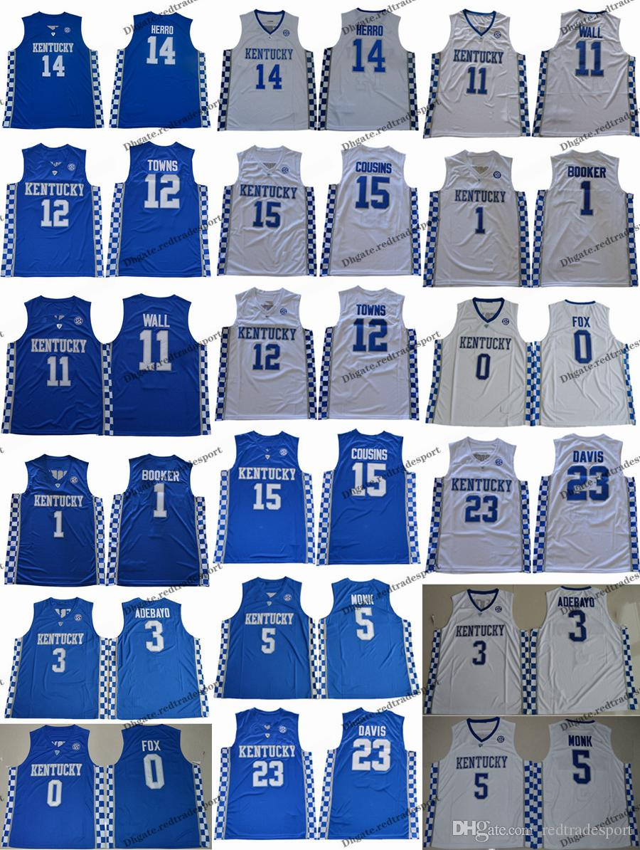bb82d484cad 2019 2019 Kentucky Wildcats 14 Tyler Herro 5 Monk 3 Adebayo 0 Fox Devin  Booker 11 John Wall 12 Towns 15 Cousins Davis College Basketball Jersey  From ...