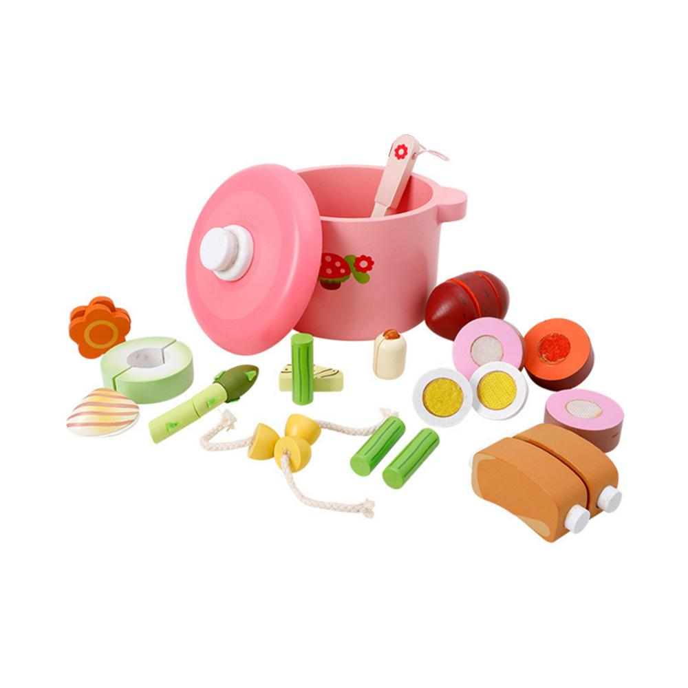 Kitchen Cooking Set Toy Wooden Pretend Play Cutting Toy Kids Early Development Educational Toys