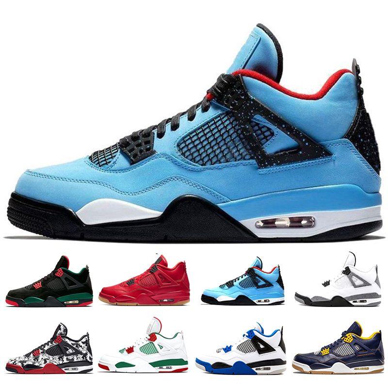 uk availability 1c245 c8650 2019 New Top 4 4s Men Basketball Shoes New White Laser Black Cat Thunder  Military Blue Designer Shoes Sport Sneakers Size 7-13
