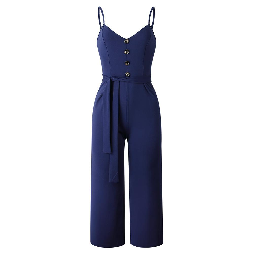 55533cfd790 2019 Sleeveless Decorative Buttons Trousers Sling Ladies Casual Long Pants  Women Jumpsuit Sexy Summer Fashion Playsuit Suspenders From Vikey10