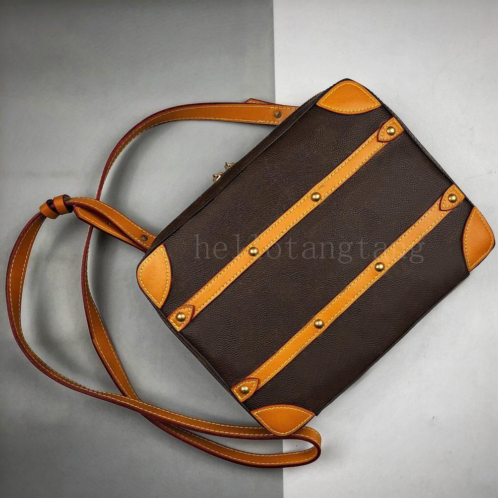 Mini soft trunk shoulder bags Taiga leather Black Monogram messenger Designer handbag shoulder cross body bag zipper women Size: 26x21x4.5CM