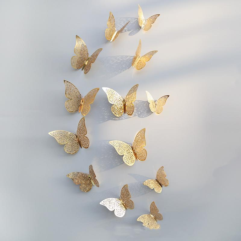 12pcs/set 3D Hollow Butterfly Wall Sticker Living Room TV Backdrop Bedroom Wall Sticker Gold Silver Butterfly Decoration HHA-982