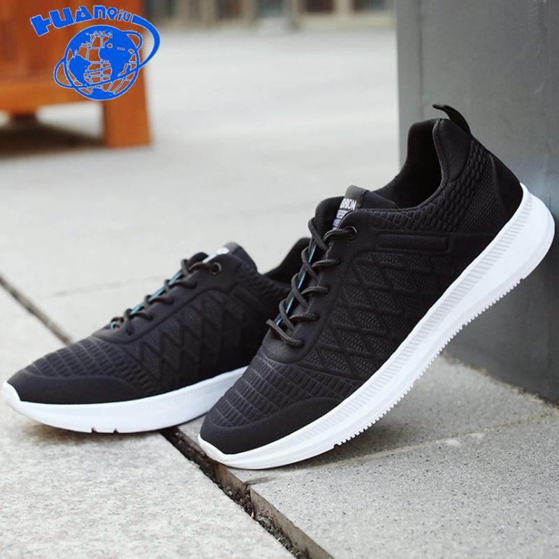 Compre HUANQIU 2018 Nova Marca De Moda PRETO Macho Sapatilhas Sapatos  Casuais Flats Sapatos Trainers Ginásio Homens Malha De Ar Respirável ZLL503  De Aiyin b571d1ab3ba4f