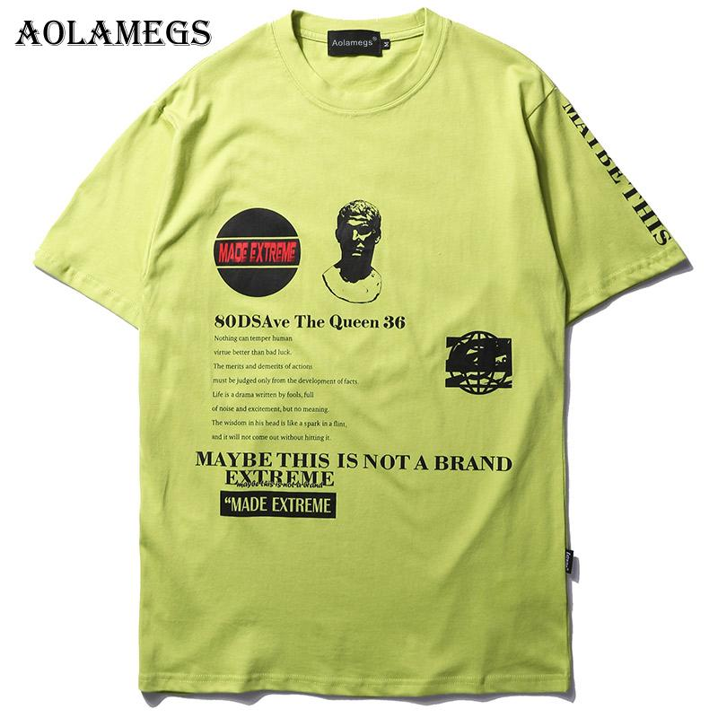 fab1aded2 Aolamegs Men T Shirt Loose Oversize Printed Men'S Tee Shirts O Neck T Shirt  Fashion High Street Hip Hop Tees Summer Streetwear Coolest T Shirt Shirts  With ...