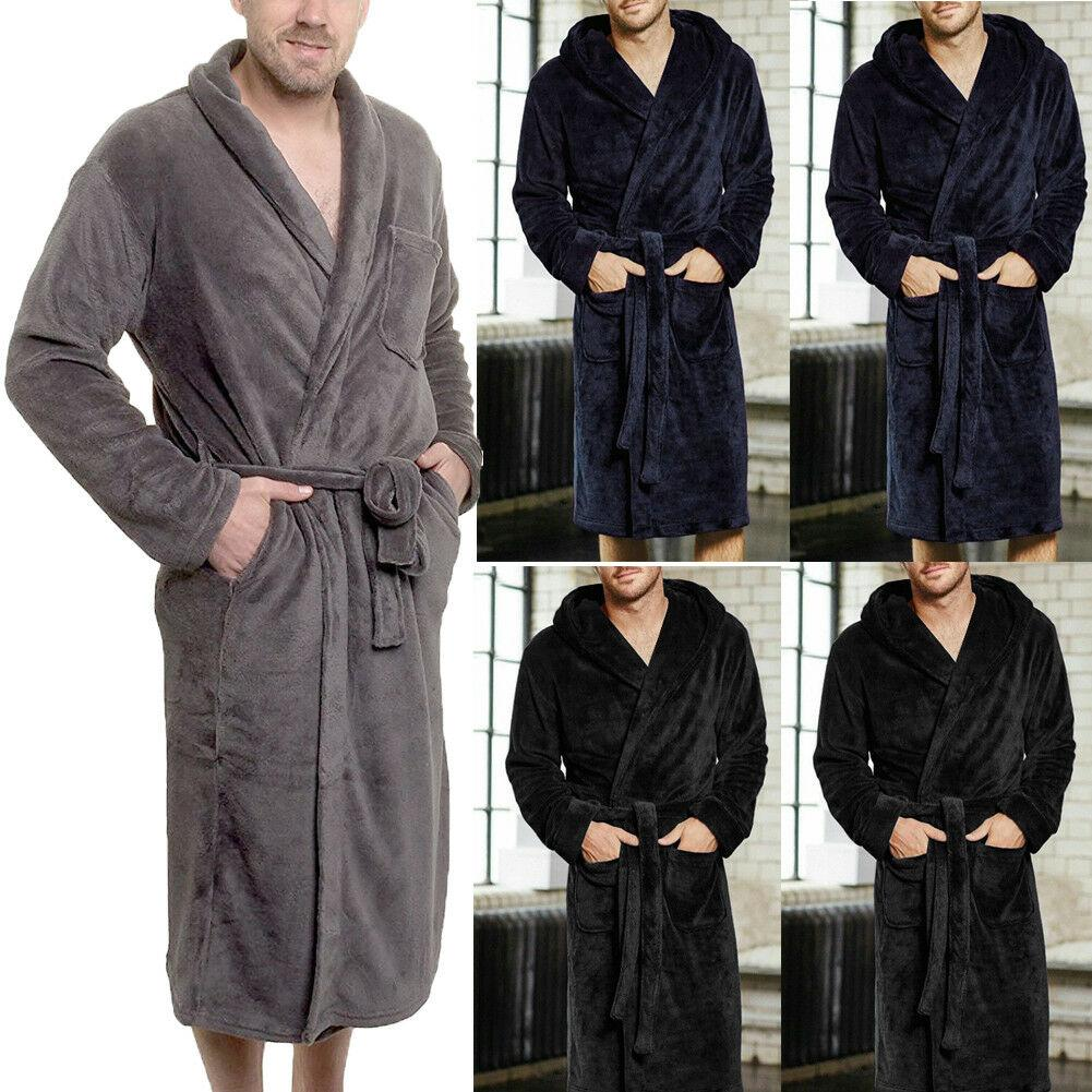 385d8f918c Thick Flannel Men s Bath Robes Gentlemen Homewear Super Soft Fleece ...