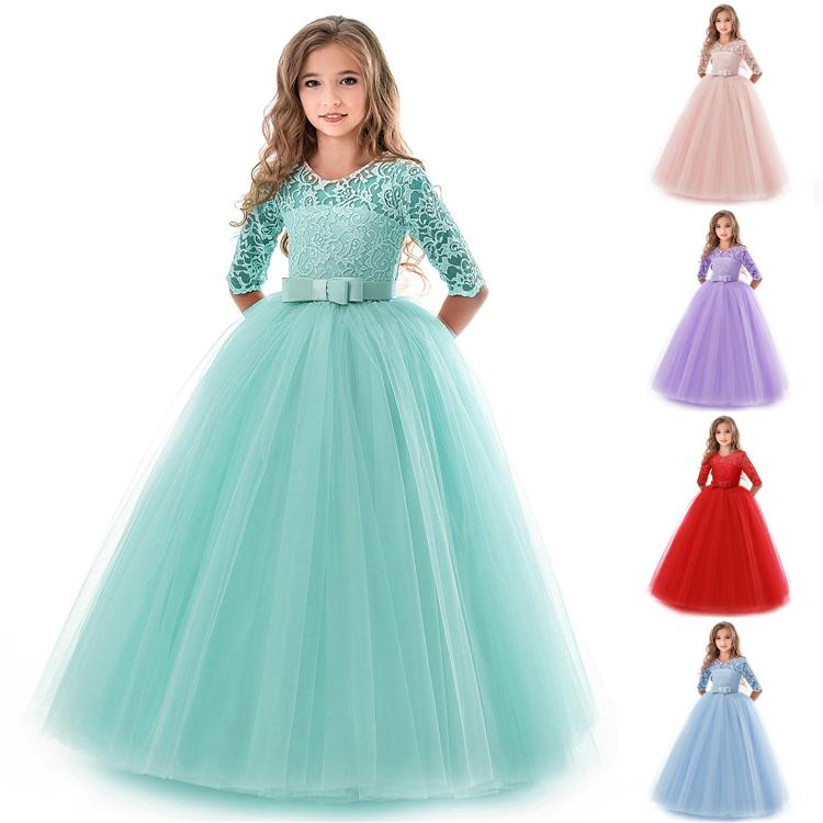 Girl Pleuche Split Dress Kids Long Sleeve Princess Party Pageant Dresses Clothes