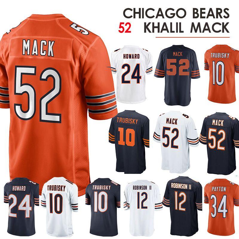 sale retailer e1ba3 22c80 52 Khalil Mack Chicago Jersey bears 10 Trubisky 34 Walter Payton 24 Howard  jerseys shirt