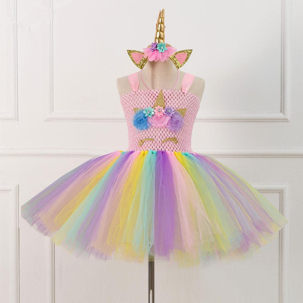6e7847004d Children Unicorn Tutu Dress Girls Princess Cosplay Costume Kid Birthday  Party Dress Cute Fluffy Skirt Gown LLA303 White Cocktail Dresses White  Party Dresses ...