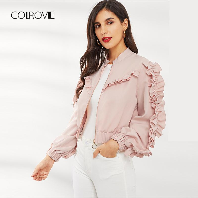 d7ed6b8a23 COLROVIE Pink Solid O-Ring Zip Up Ruffle Trim Korean Winter Jacket ...