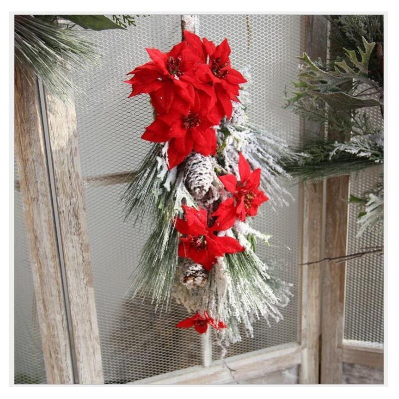 Christmas Flower Arrangements Artificial.Indigo Red Poinsettia Christmas Flower Hanging Flower Arrangement Bouquet Artificial Party Home Event Free Shipping