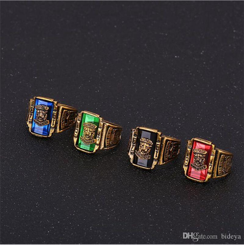 Vintage Men Tiger Head Band Rings 2019 Fashion Male Finger Rings Accessories Red Green Blue Black Size 7-15