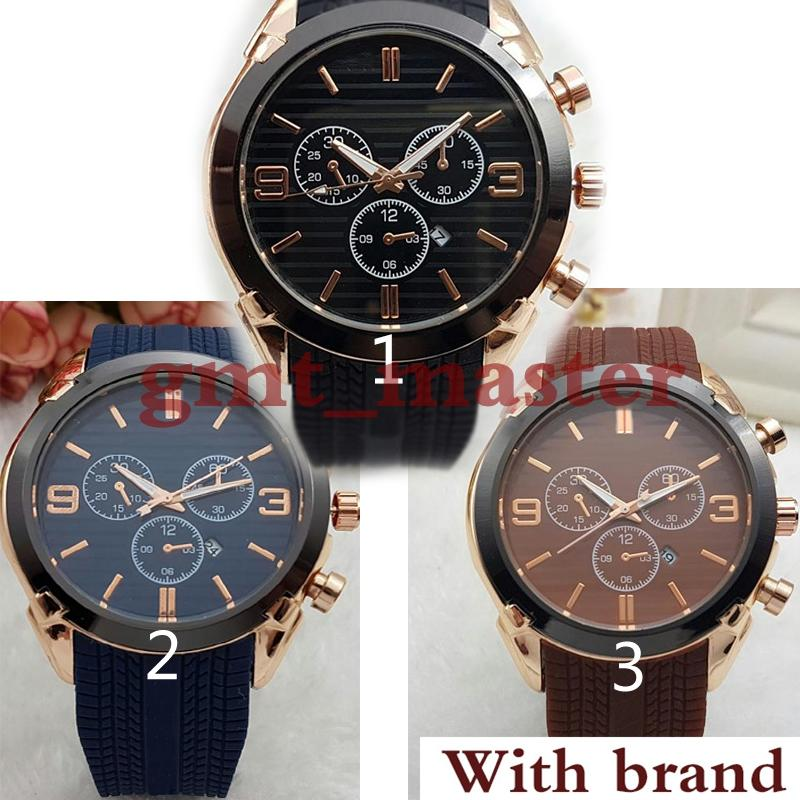 New high quality 45mm military sport style large men watches 2018 luxury brand fashion designer black dial unique silicone big male clock