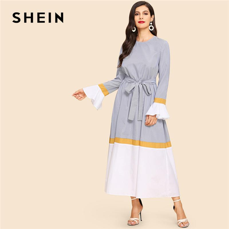 c9b0119bc6 SHEIN Multicolor Waist Belted Bell Sleeve Color Block Flounce Sleeve Long  Dress Casual Elegant Women Autumn Modern Lady Dresses Cheap Prom Dresses  Cheap ...