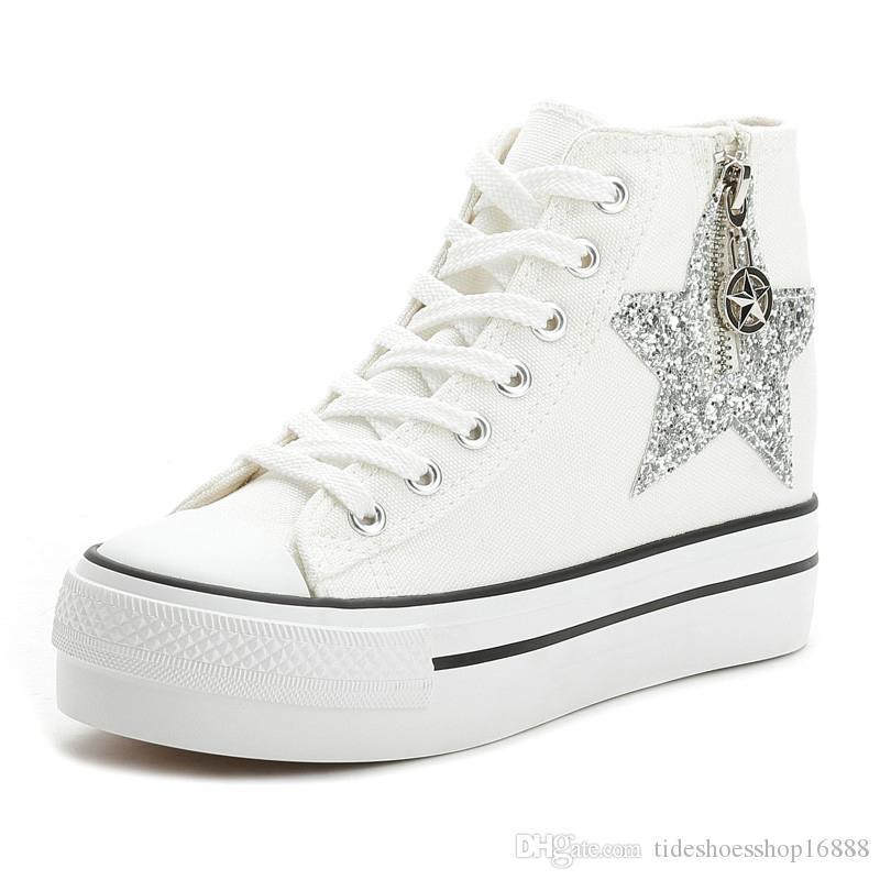 Acquista Donna Sneakers Alte Con Zeppa Piattaforma Canvas Espadrillas Da  Donna Primavera Autunno Sneakers Da Donna Fondo Spesso Lace Up Donna Scarpe  Casual ... f437fbf4146