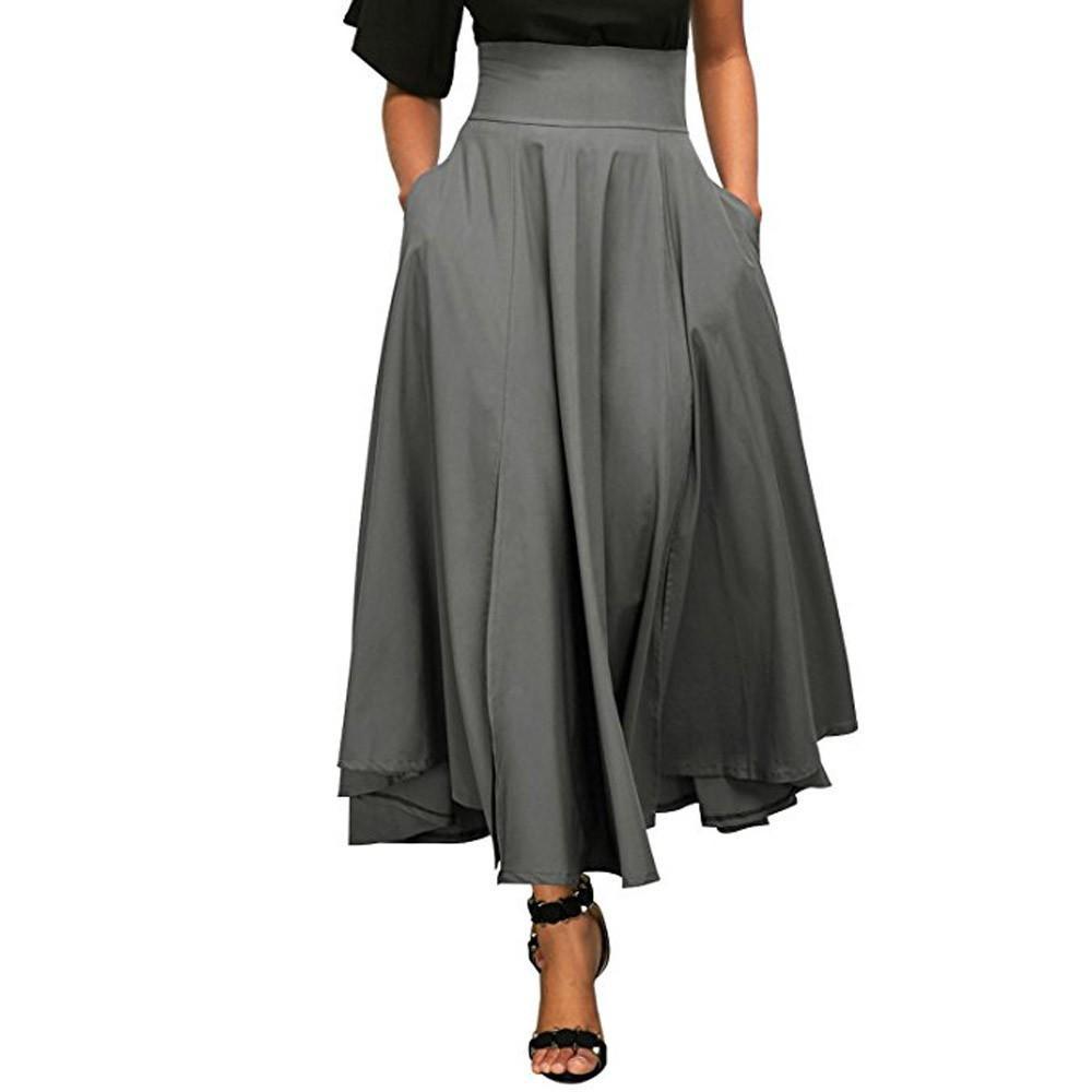 5a6d38eabfd Acheter Date Femmes Solide Taille Haute Plissée Une Ligne Longue Jupe Avant  Fente Ceinture Longue D été Boho Maxi Jupe Faldas Saia Jupe Feminina De   20.98 ...