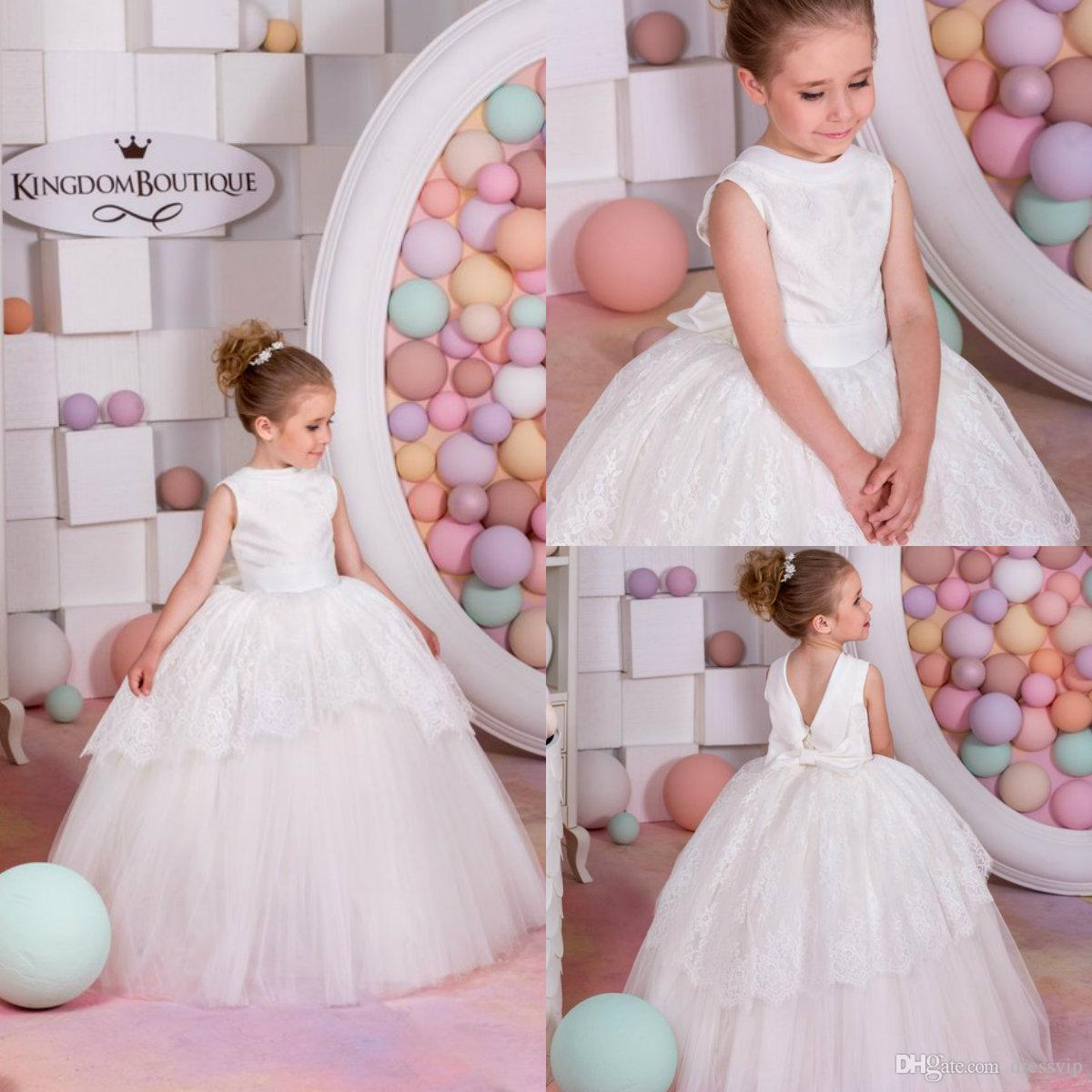 f533fbb94 White Flower Girl Dresses Jewel Neck Lace Appliqued Bow Floor Length ...