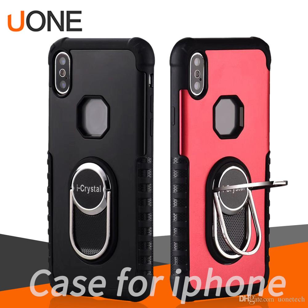 Anti-slip Metal Ring Armor Shockproof Protector Magnetic Car Holder For iPhone 11 Pro X XS Max Samsung Mate20 S10 Huawei Oppo Mi Phone