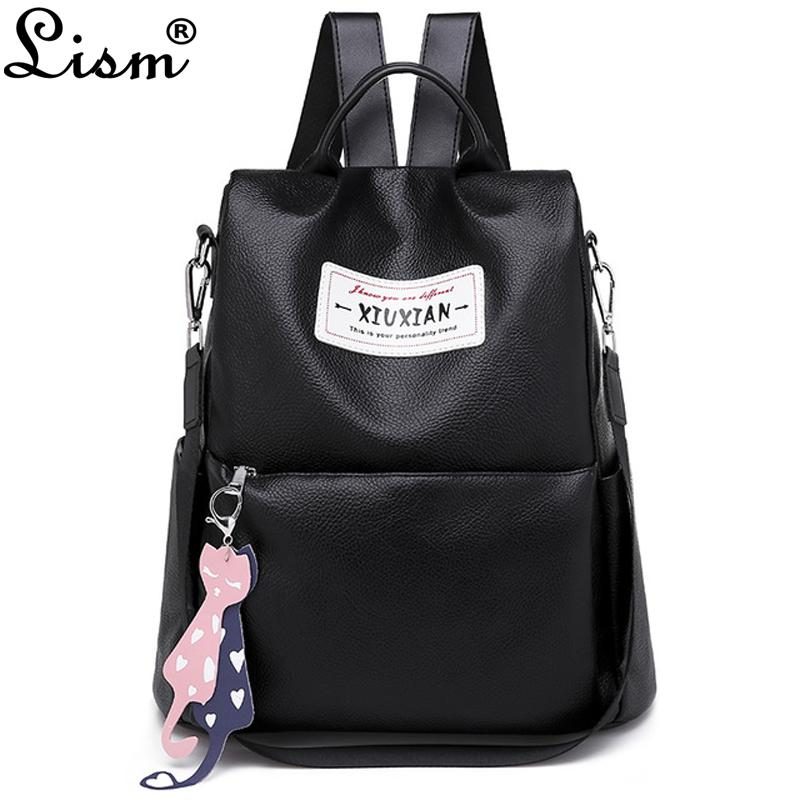 4f1e5ad247d 2019 new ladies backpack luxury high quality PU leather travel bag fashion  cartoon pendant cat pendant college style bag
