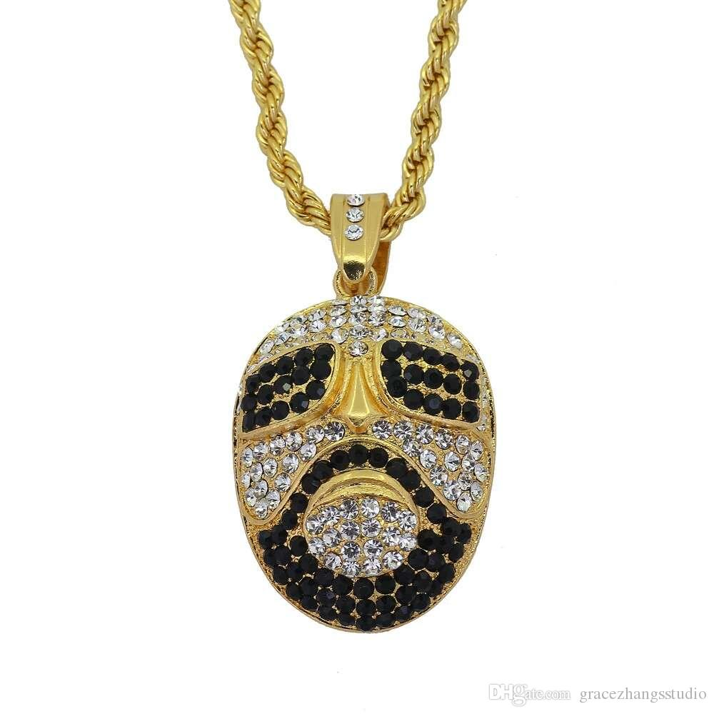 hip hop mask pendant necklaces for men women luxury diamonds face pendants alloy rhinestone gold chain necklace jewelry gift free shipping
