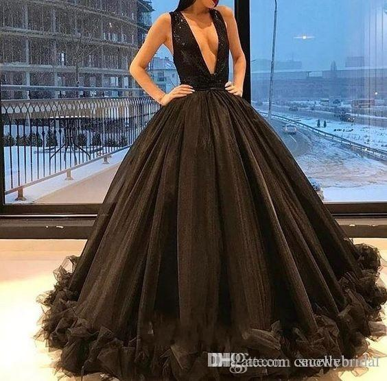 ecdfd0e0ca0f3 Sexy Deep V Neck Ball Gown Black Long Prom Dresses 2019 Sequins Top Tulle  Skirt Low Back Women Sexy Evening Party Gowns Sleeveless
