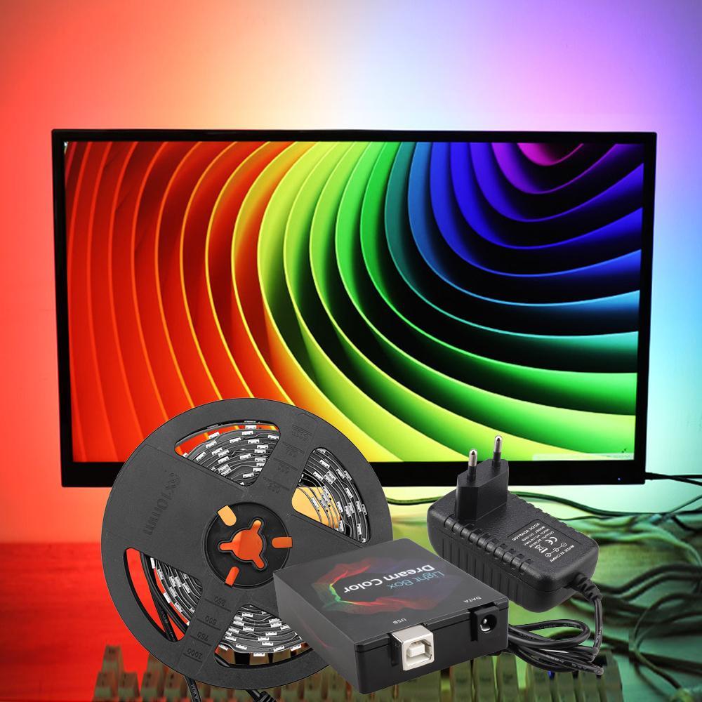 Ws2812b Ambilight Rgb Usb Led Strip Light Desktop Pc Screen Tape Along With Multicolor Strips Wiring Backlight Lighting Digital Kit 1m 2m 3m 4m 5m For Trucks Outdoor