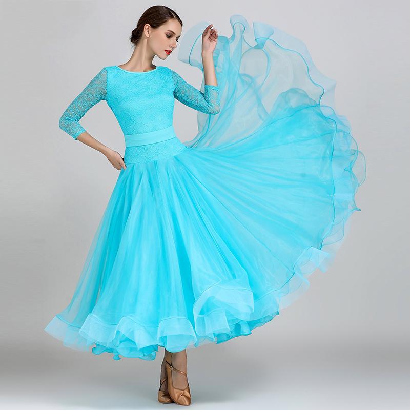 Compre Elegante Salón De Baile Mujeres Vals Baile Estándar Salsa  Competencia Disfraces Encaje Rumba Tango Trajes De Baile DC1200 A  138.45  Del Aprili ... a3872fb0fb78